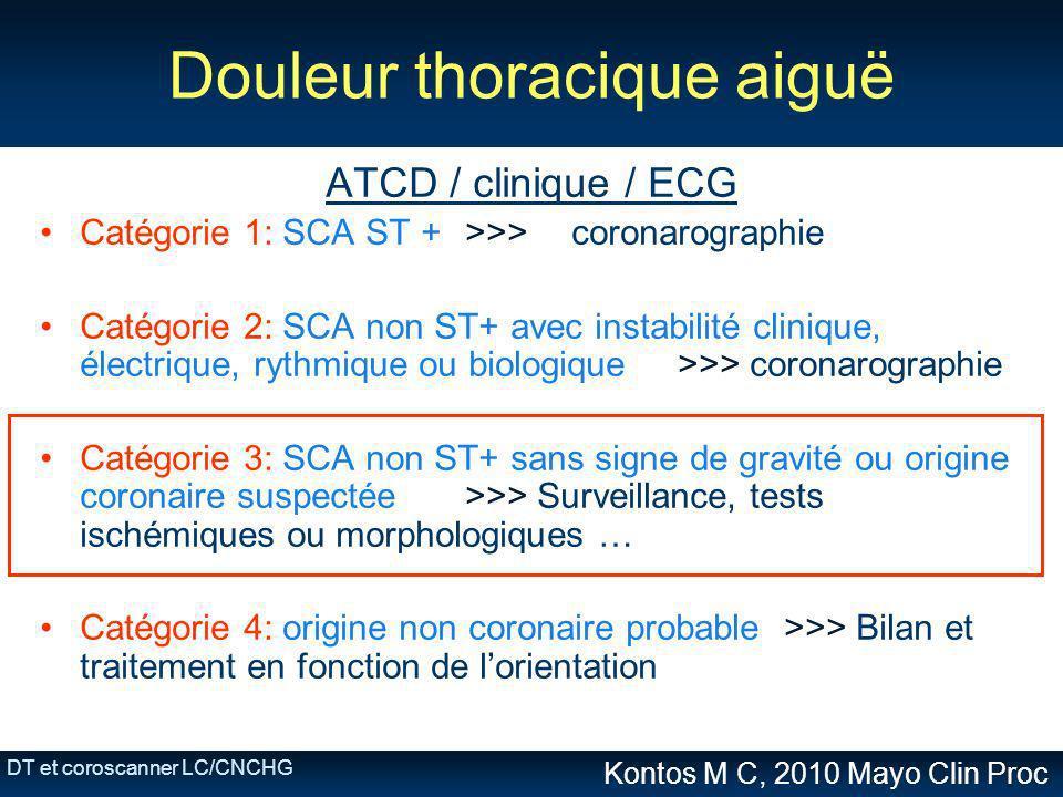 DT et coroscanner LC/CNCHG Douleur thoracique aiguë ATCD / clinique / ECG Catégorie 1: SCA ST + >>>coronarographie Catégorie 2: SCA non ST+ avec insta