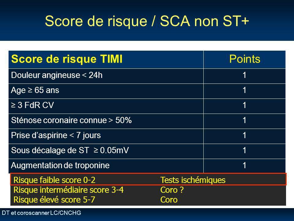DT et coroscanner LC/CNCHG Score de risque / SCA non ST+ Score de risque TIMIPoints Douleur angineuse < 24h1 Age 65 ans1 3 FdR CV1 Sténose coronaire c