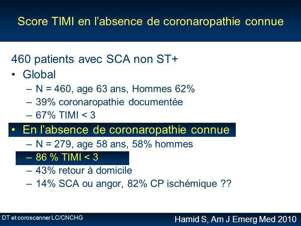 DT et coroscanner LC/CNCHG Score TIMI en labsence de coronaropathie connue 460 patients avec SCA non ST+ Global –N = 460, age 63 ans, Hommes 62% –39%