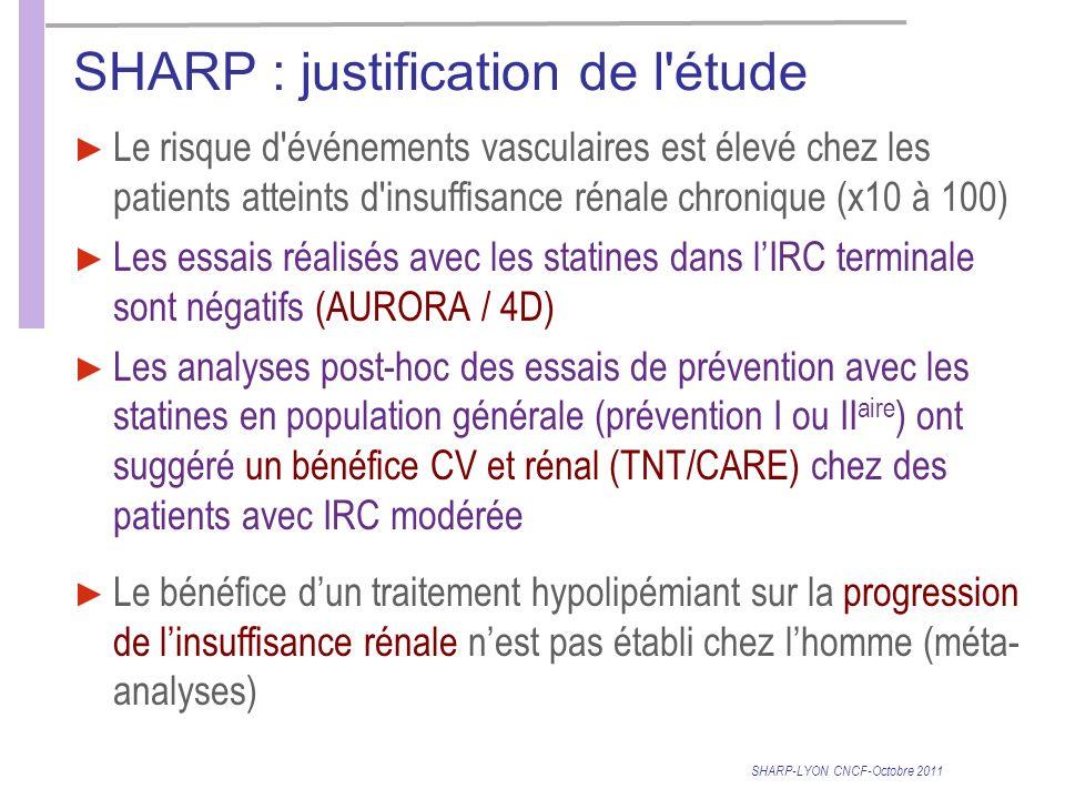 SHARP : justification de l étude Le risque d événements vasculaires est élevé chez les patients atteints d insuffisance rénale chronique (x10 à 100) Les essais réalisés avec les statines dans lIRC terminale sont négatifs (AURORA / 4D) Les analyses post-hoc des essais de prévention avec les statines en population générale (prévention I ou II aire ) ont suggéré un bénéfice CV et rénal (TNT/CARE) chez des patients avec IRC modérée Le bénéfice dun traitement hypolipémiant sur la progression de linsuffisance rénale nest pas établi chez lhomme (méta- analyses) SHARP-LYON CNCF-Octobre 2011