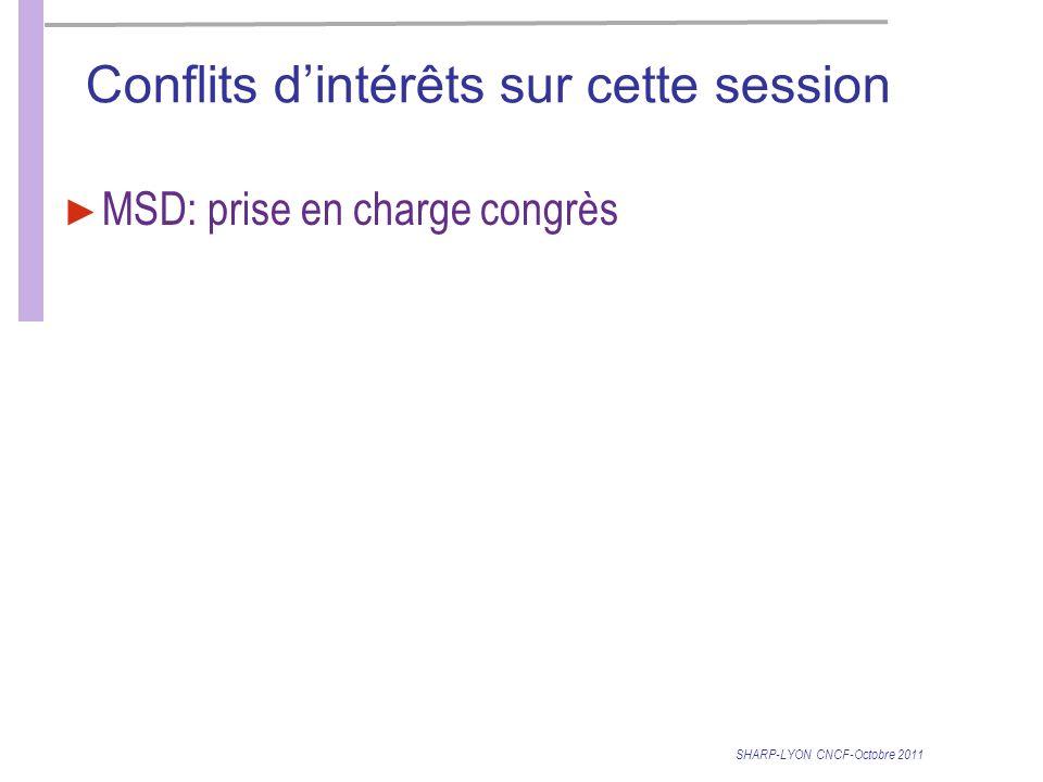 Conflits dintérêts sur cette session MSD: prise en charge congrès SHARP-LYON CNCF-Octobre 2011