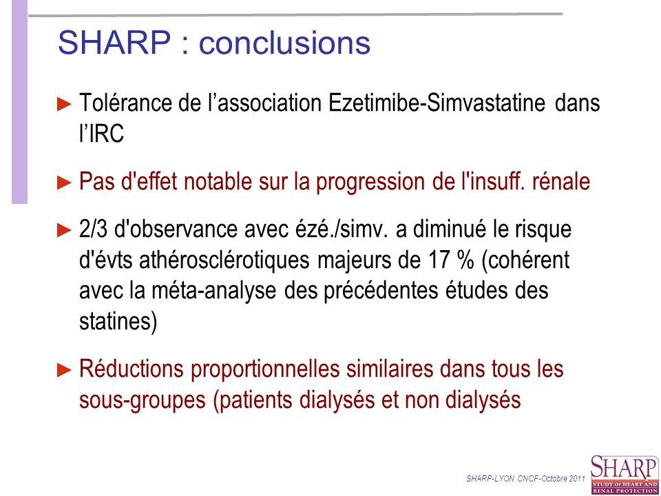 SHARP : conclusions Tolérance de lassociation Ezetimibe-Simvastatine dans lIRC Pas d effet notable sur la progression de l insuff.