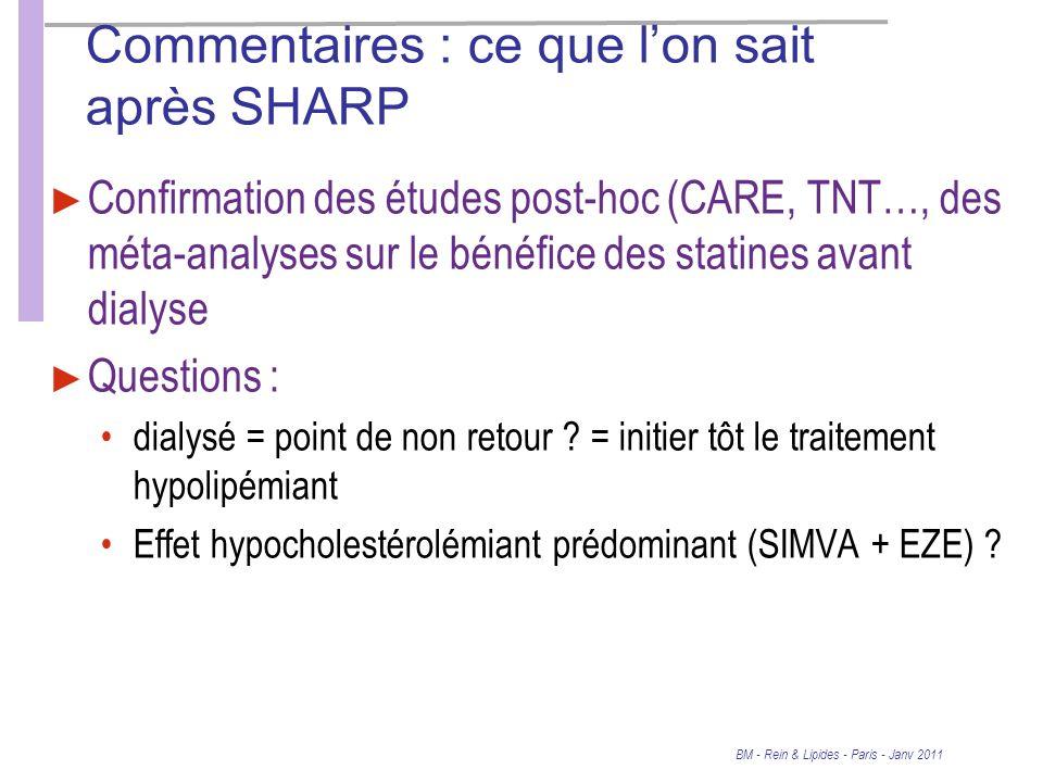 Commentaires : ce que lon sait après SHARP Confirmation des études post-hoc (CARE, TNT…, des méta-analyses sur le bénéfice des statines avant dialyse Questions : dialysé = point de non retour .