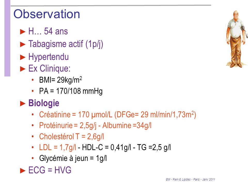 Observation Ex Clinique: BMI= 29kg/m 2 PA = 170/108 mmHg Biologie Créatinine = 170 µmol/L (DFGe= 29 ml/min/1,73m 2 ) Protéinurie = 2,5g/j - Albumine =34g/l Cholestérol T = 2,6g/l LDL = 1,7g/l - HDL-C = 0,41g/l - TG =2,5 g/l Glycémie à jeun = 1g/l ECG = HVG H… 54 ans Tabagisme actif (1p/j) Hypertendu