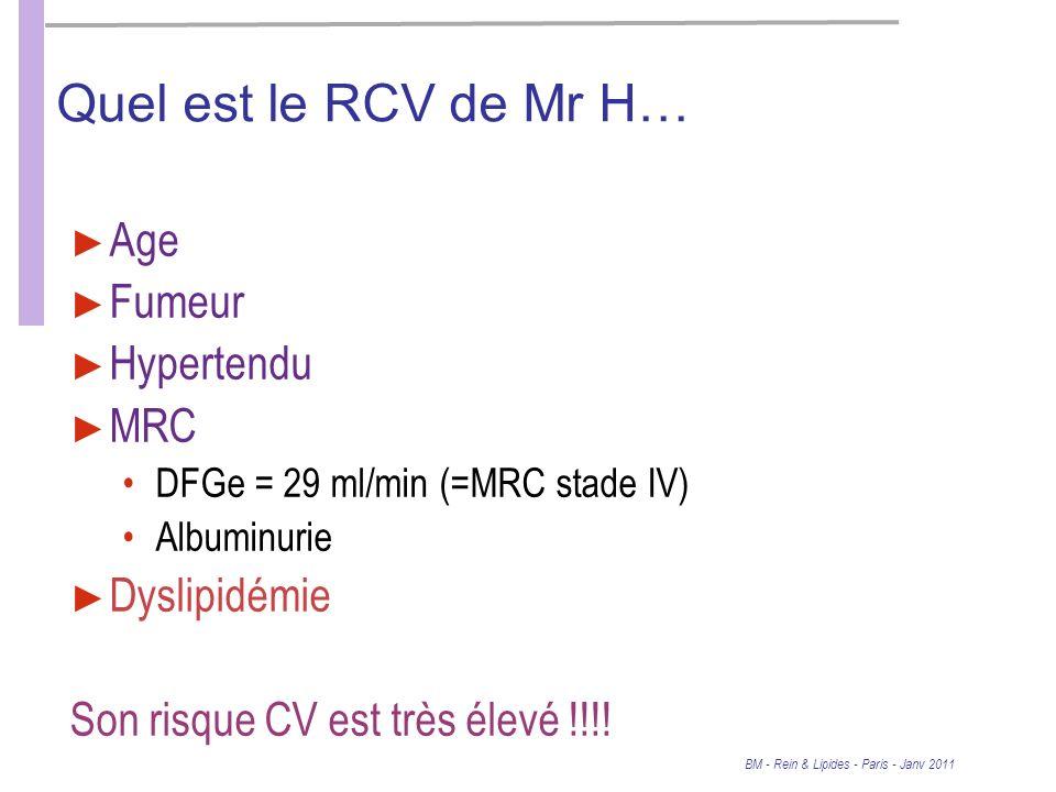BM - Rein & Lipides - Paris - Janv 2011 Quel est le RCV de Mr H… Age Fumeur Hypertendu MRC DFGe = 29 ml/min (=MRC stade IV) Albuminurie Dyslipidémie Son risque CV est très élevé !!!!
