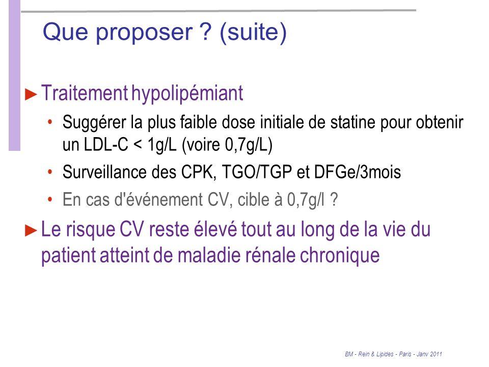 BM - Rein & Lipides - Paris - Janv 2011 Que proposer .