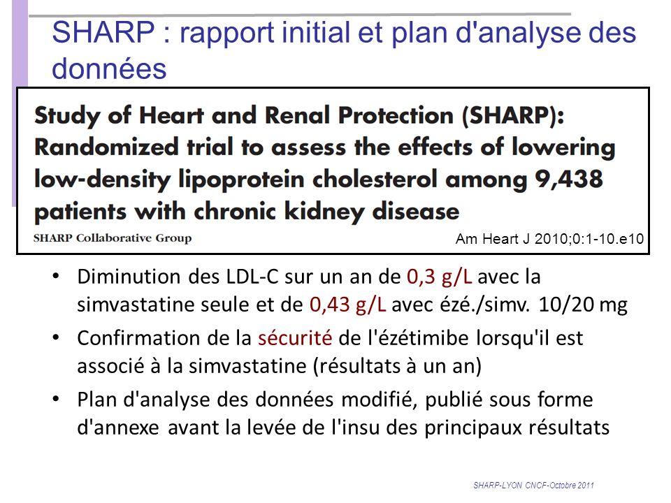 SHARP : rapport initial et plan d analyse des données Am Heart J 2010;0:1-10.e10 Diminution des LDL-C sur un an de 0,3 g/L avec la simvastatine seule et de 0,43 g/L avec ézé./simv.
