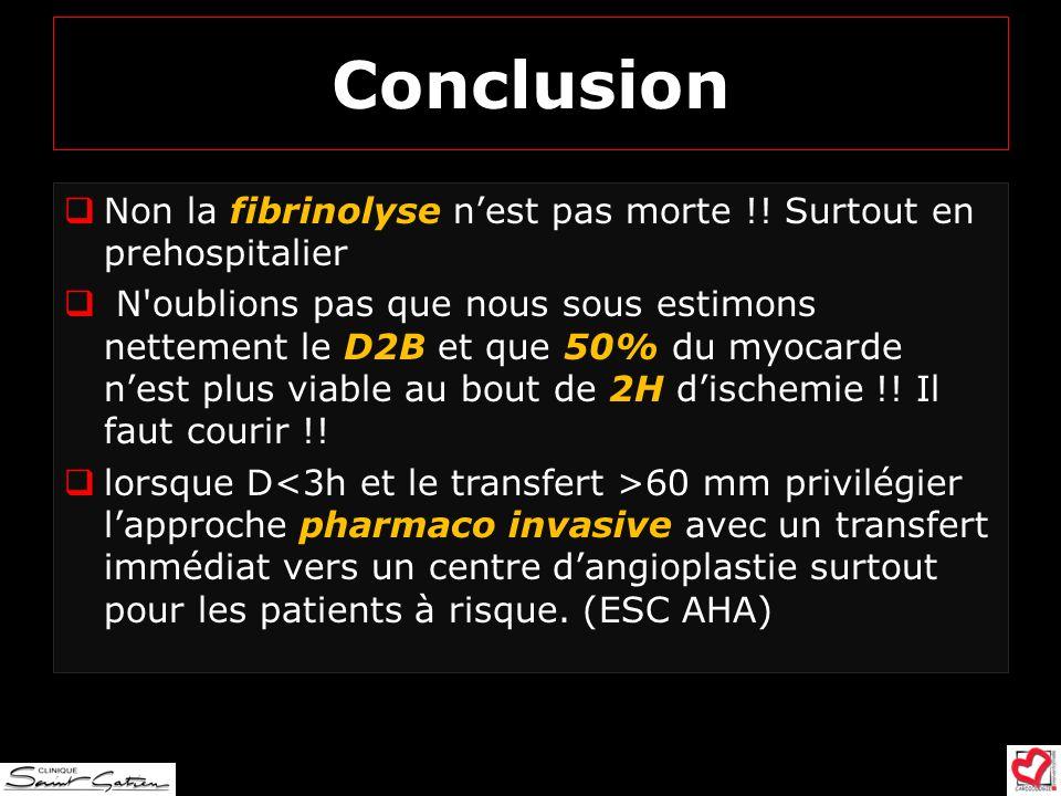 Conclusion Non la fibrinolyse nest pas morte !! Surtout en prehospitalier N'oublions pas que nous sous estimons nettement le D2B et que 50% du myocard