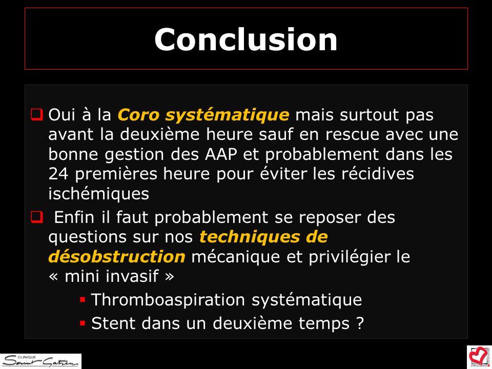 Conclusion Oui à la Coro systématique mais surtout pas avant la deuxième heure sauf en rescue avec une bonne gestion des AAP et probablement dans les