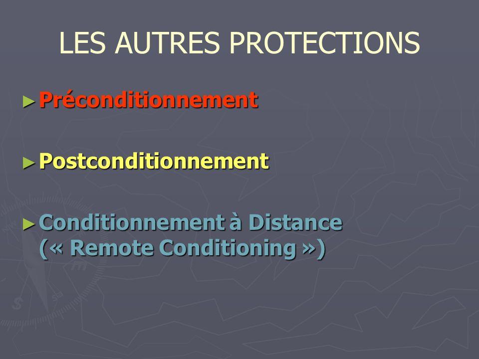 LES AUTRES PROTECTIONS Préconditionnement Préconditionnement Postconditionnement Postconditionnement Conditionnement à Distance (« Remote Conditioning ») Conditionnement à Distance (« Remote Conditioning »)