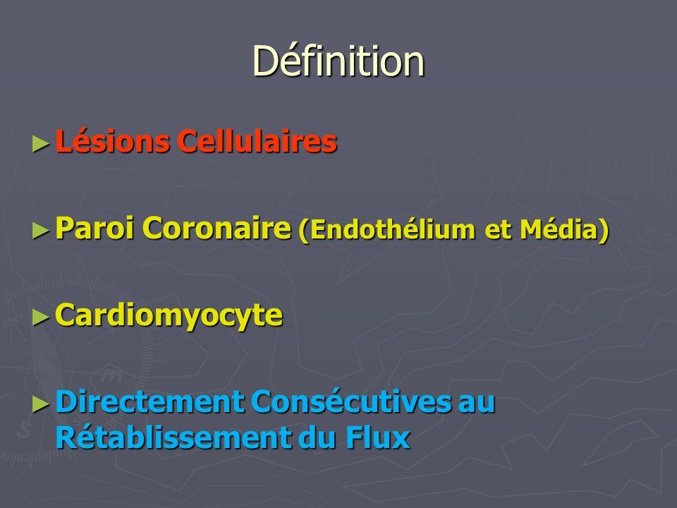 Définition Lésions Cellulaires Lésions Cellulaires Paroi Coronaire (Endothélium et Média) Paroi Coronaire (Endothélium et Média) Cardiomyocyte Cardiomyocyte Directement Consécutives au Rétablissement du Flux Directement Consécutives au Rétablissement du Flux