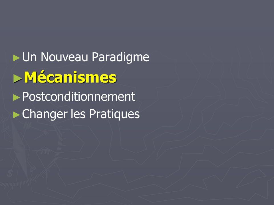 Un Nouveau Paradigme Mécanismes Mécanismes Postconditionnement Changer les Pratiques