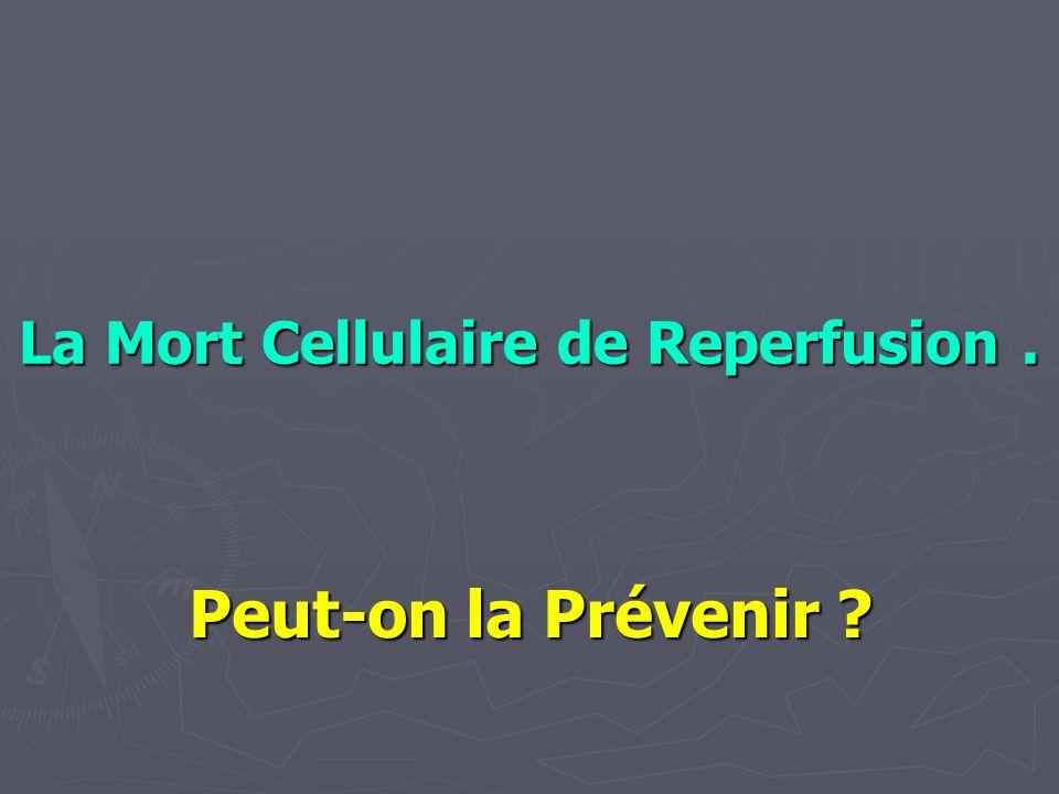 La Mort Cellulaire de Reperfusion. Peut-on la Prévenir ?