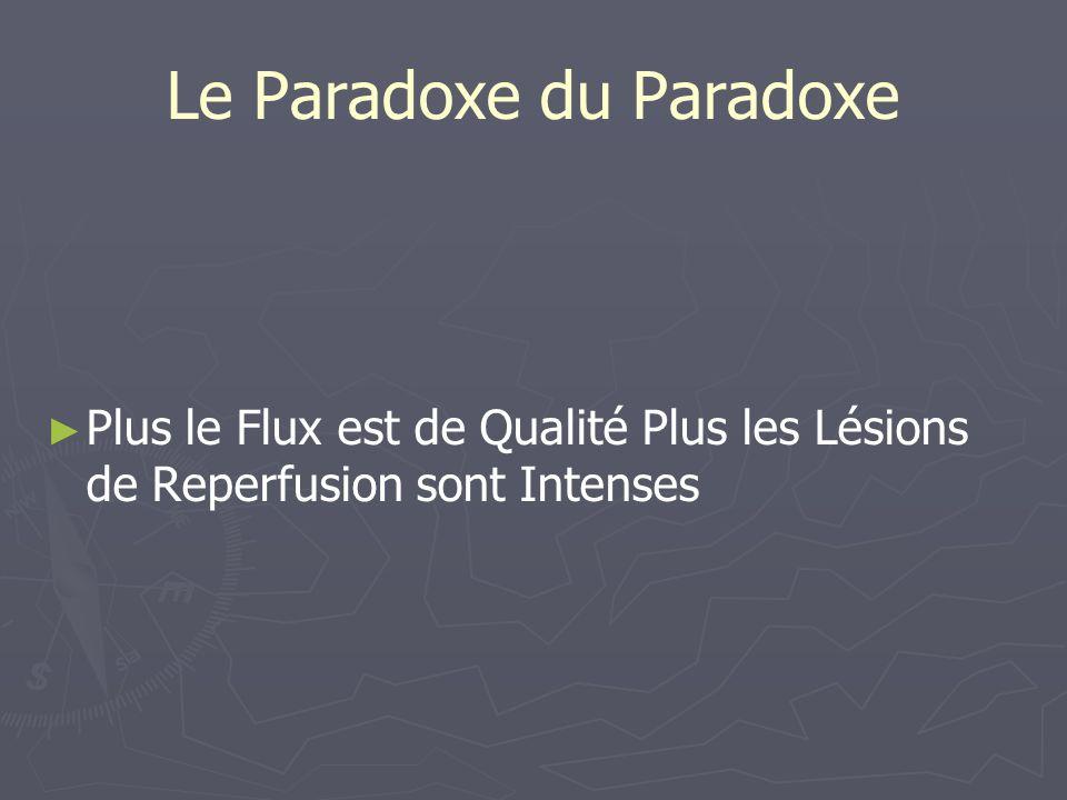 Le Paradoxe du Paradoxe Plus le Flux est de Qualité Plus les Lésions de Reperfusion sont Intenses