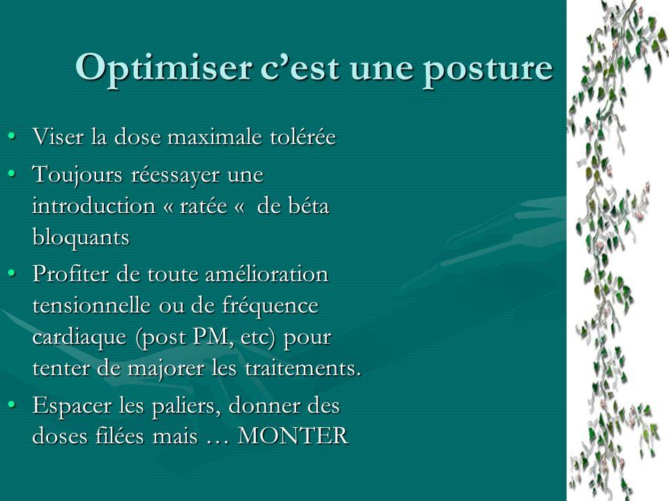 Optimiser cest une posture Viser la dose maximale toléréeViser la dose maximale tolérée Toujours réessayer une introduction « ratée « de béta bloquant