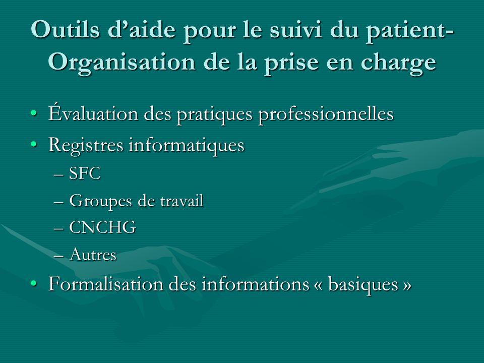 Outils daide pour le suivi du patient- Organisation de la prise en charge Évaluation des pratiques professionnellesÉvaluation des pratiques profession
