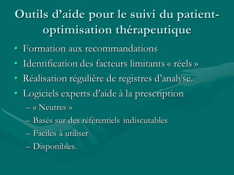 Outils daide pour le suivi du patient- optimisation thérapeutique Formation aux recommandationsFormation aux recommandations Identification des facteu