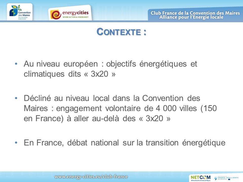 C ONTEXTE : Au niveau européen : objectifs énergétiques et climatiques dits « 3x20 » Décliné au niveau local dans la Convention des Maires : engagemen