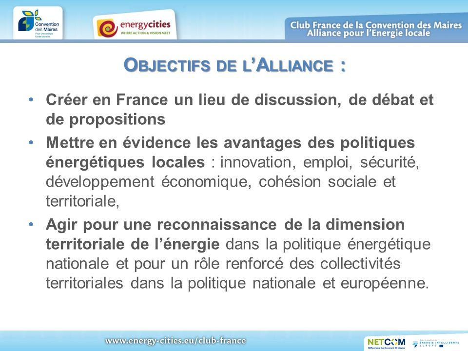 O BJECTIFS DE L A LLIANCE : Créer en France un lieu de discussion, de débat et de propositions Mettre en évidence les avantages des politiques énergét