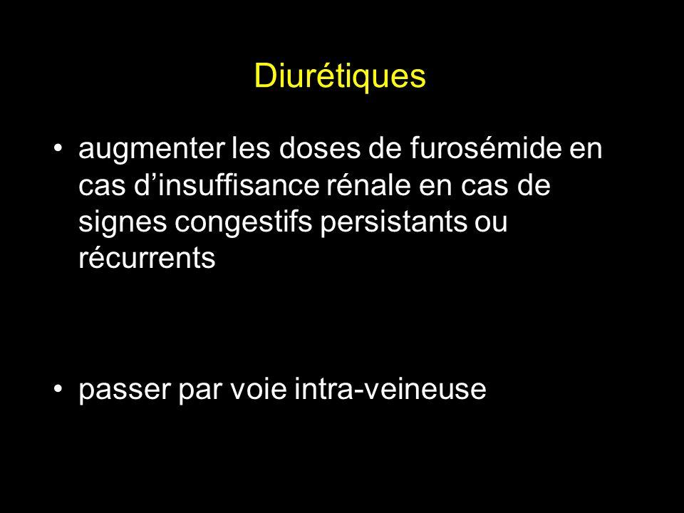Diurétiques augmenter les doses de furosémide en cas dinsuffisance rénale en cas de signes congestifs persistants ou récurrents passer par voie intra-