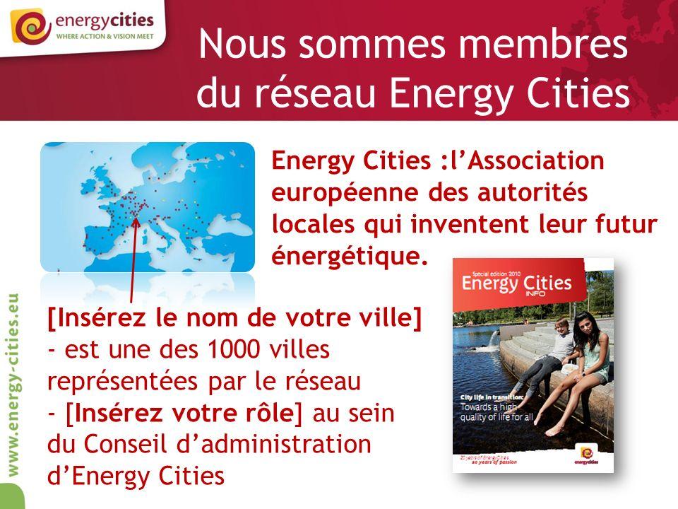 Travailler en réseau nous permet de - déchanger nos expériences avec dautres villes européennes - de discuter des mêmes questions énergétiques pendant la Conférence annuelle - dêtre représenté au niveau européen - de faire avancer les projets pour une meilleure qualité de vie dans notre ville