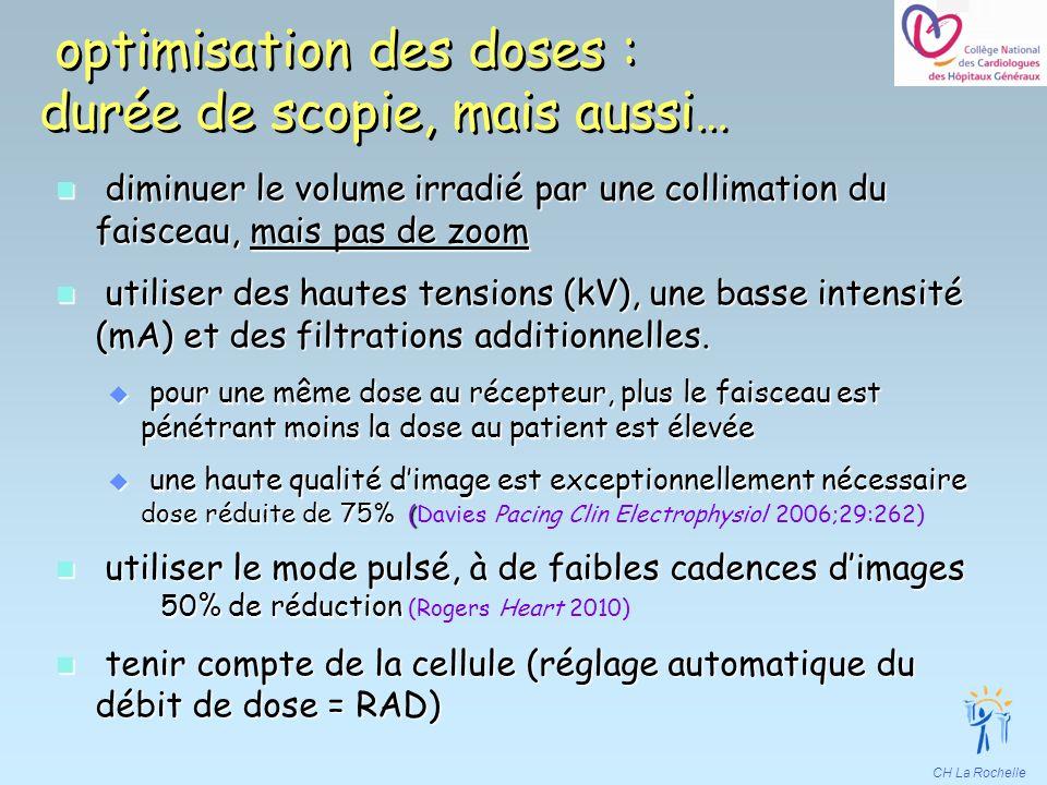 CH La Rochelle optimisation des doses : durée de scopie, mais aussi… n diminuer le volume irradié par une collimation du faisceau, mais pas de zoom n