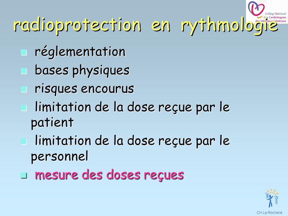 CH La Rochelle n réglementation n bases physiques n risques encourus n limitation de la dose reçue par le patient n limitation de la dose reçue par le