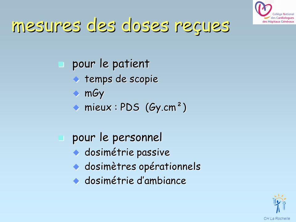 CH La Rochelle mesures des doses reçues n pour le patient u temps de scopie u mGy u mieux : PDS (Gy.cm²) n pour le personnel u dosimétrie passive u do