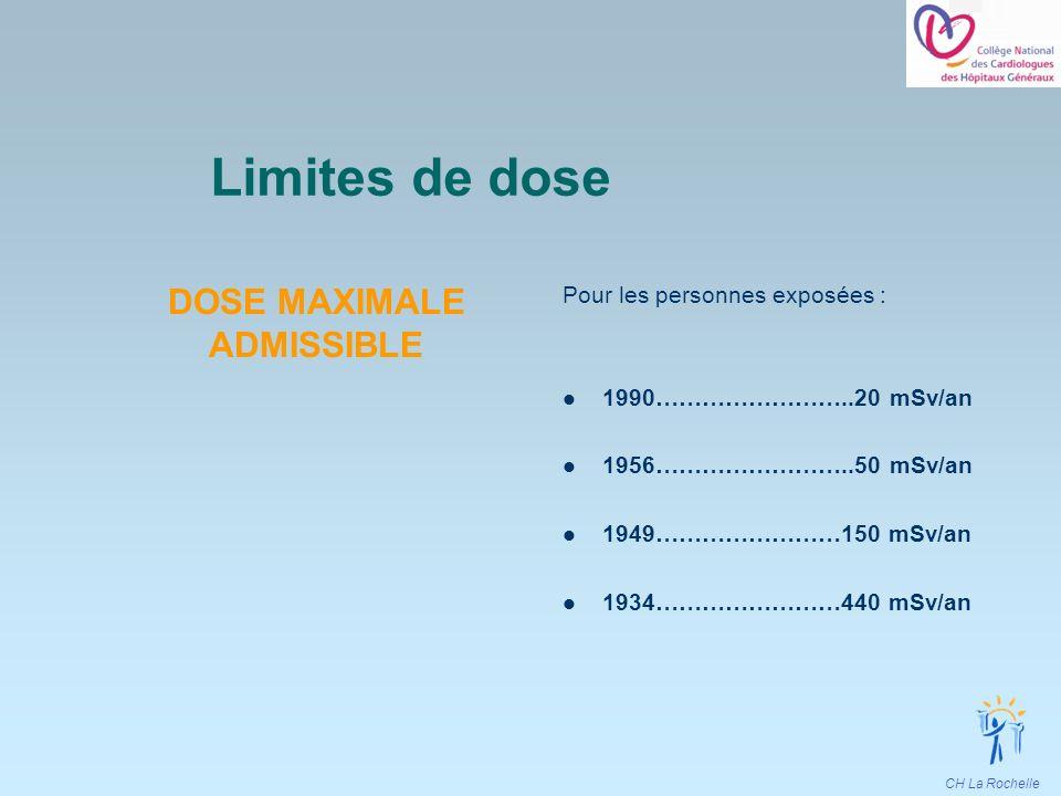 CH La Rochelle Limites de dose DOSE MAXIMALE ADMISSIBLE Pour les personnes exposées : 1990……………………..20 mSv/an 1956……………………..50 mSv/an 1949……………………150