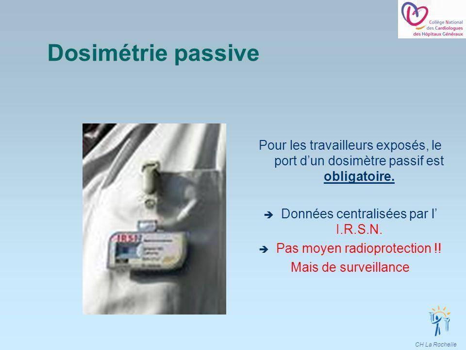 CH La Rochelle Dosimétrie passive Pour les travailleurs exposés, le port dun dosimètre passif est obligatoire. Données centralisées par l I.R.S.N. Pas