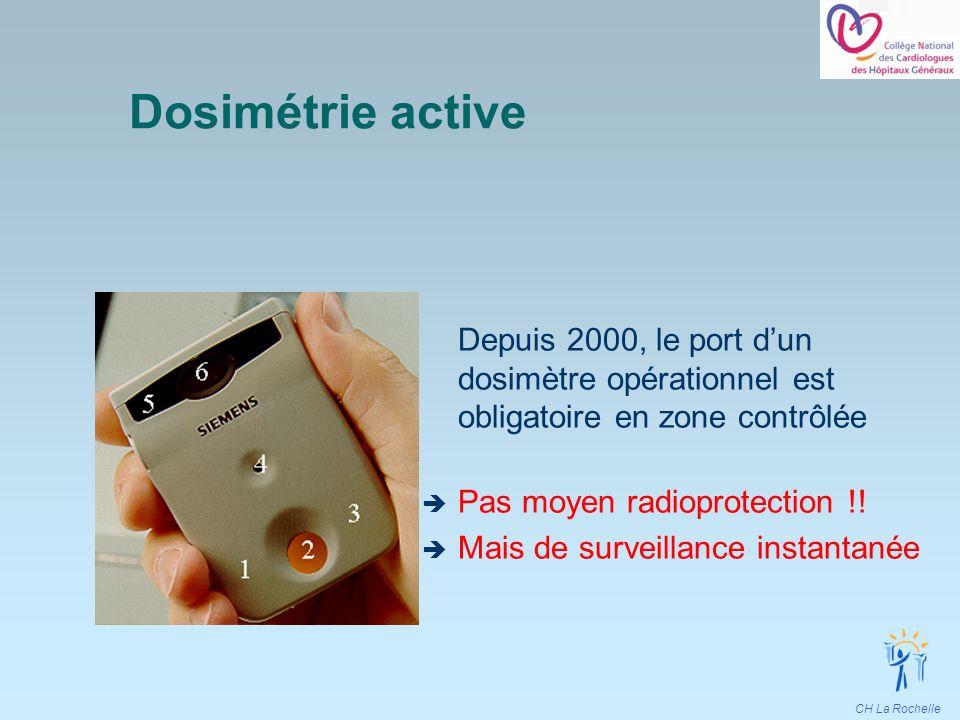 CH La Rochelle Dosimétrie active Depuis 2000, le port dun dosimètre opérationnel est obligatoire en zone contrôlée Pas moyen radioprotection !! Mais d