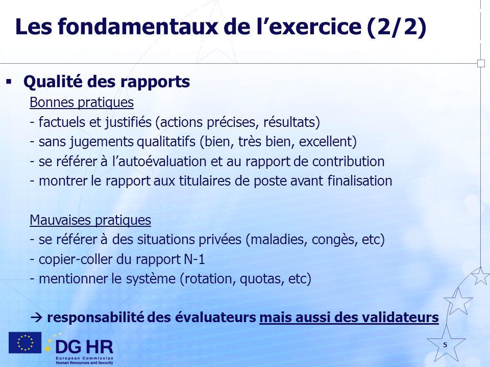 5 Les fondamentaux de lexercice (2/2) Qualité des rapports Bonnes pratiques - factuels et justifiés (actions précises, résultats) - sans jugements qua