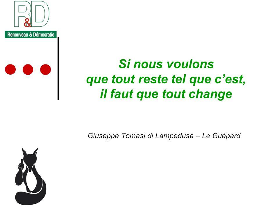 Si nous voulons que tout reste tel que cest, il faut que tout change Giuseppe Tomasi di Lampedusa – Le Guépard
