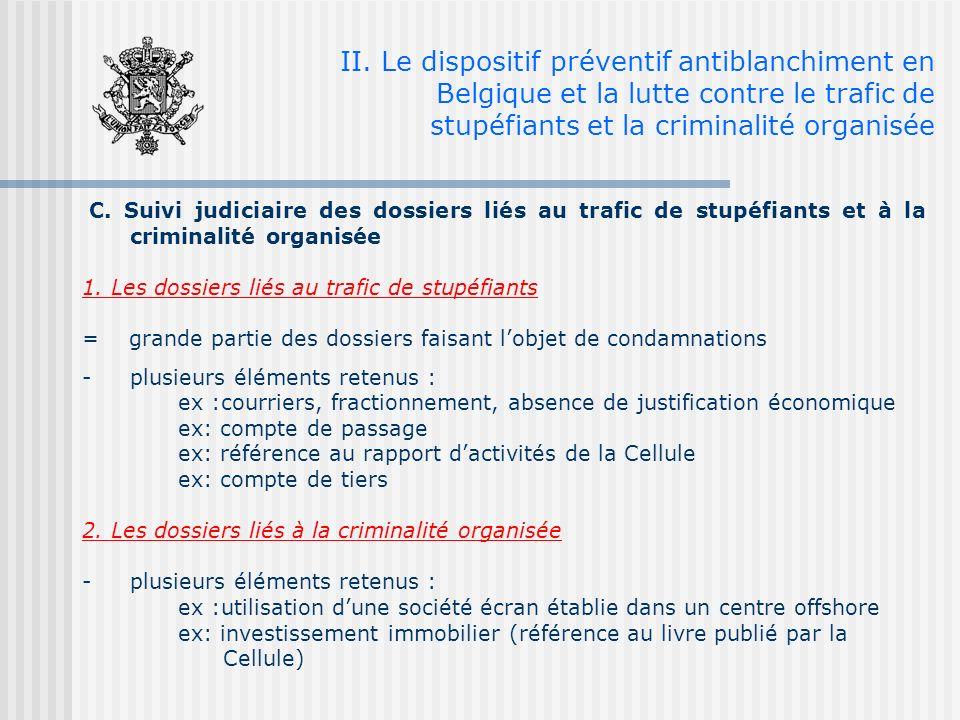 C. Suivi judiciaire des dossiers liés au trafic de stupéfiants et à la criminalité organisée 1.
