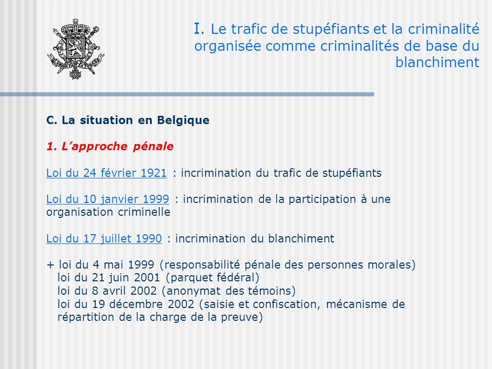 I. Le trafic de stupéfiants et la criminalité organisée comme criminalités de base du blanchiment C. La situation en Belgique 1. Lapproche pénale Loi