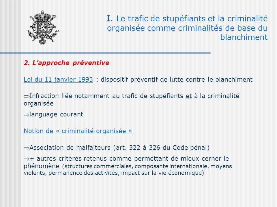 I. Le trafic de stupéfiants et la criminalité organisée comme criminalités de base du blanchiment 2. Lapproche préventive Loi du 11 janvier 1993 : dis