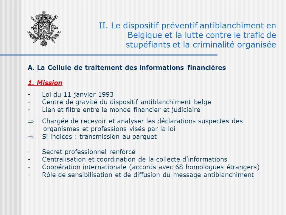 II. Le dispositif préventif antiblanchiment en Belgique et la lutte contre le trafic de stupéfiants et la criminalité organisée A. La Cellule de trait
