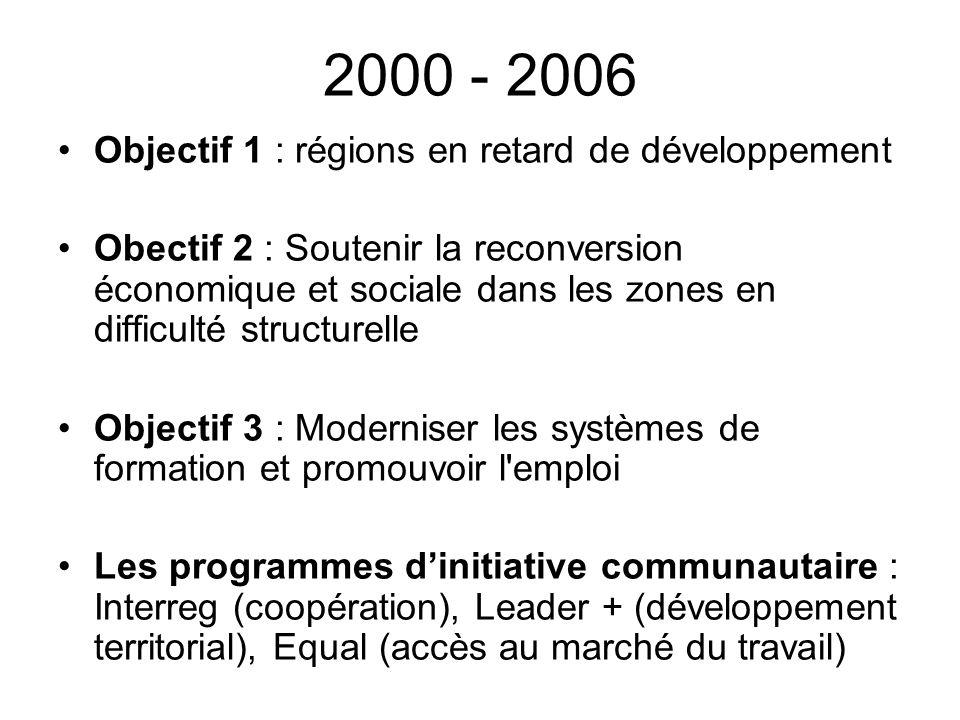 2000 - 2006 Objectif 1 : régions en retard de développement Obectif 2 : Soutenir la reconversion économique et sociale dans les zones en difficulté st