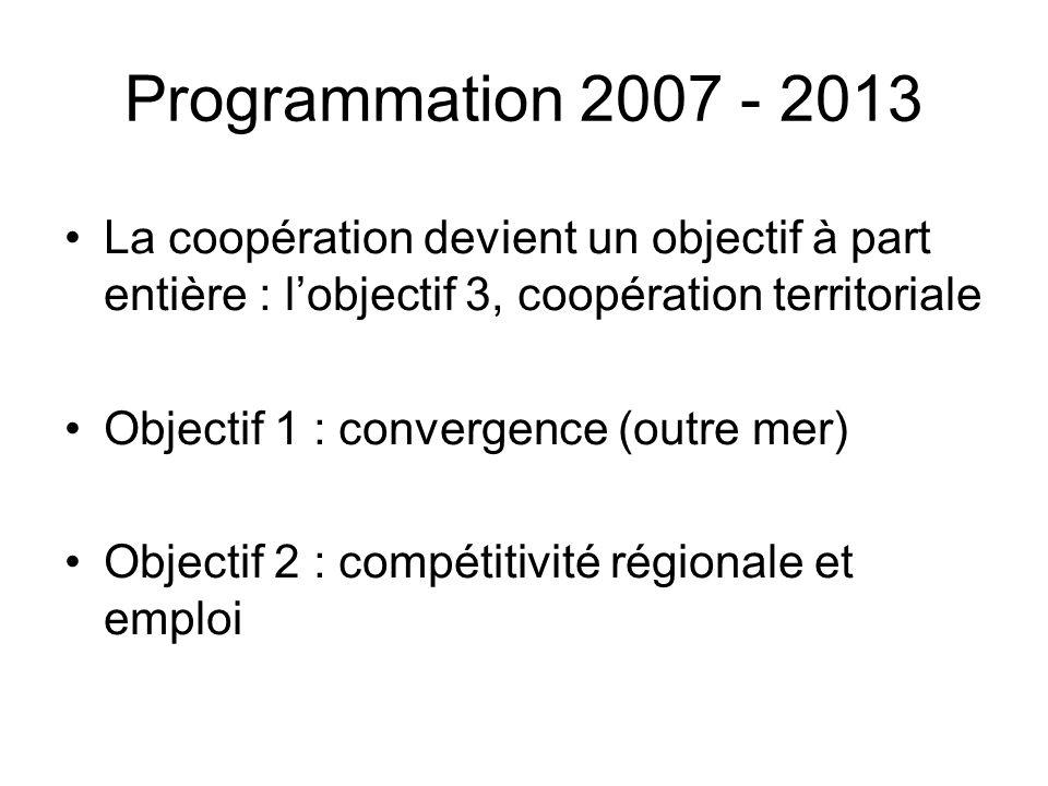 Programmation 2007 - 2013 La coopération devient un objectif à part entière : lobjectif 3, coopération territoriale Objectif 1 : convergence (outre me