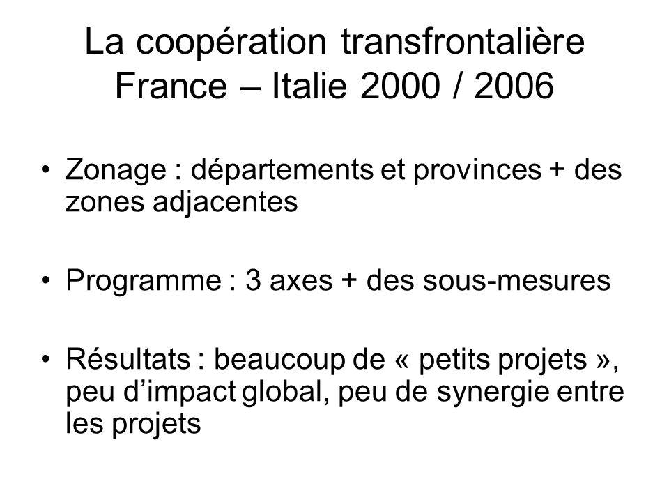 La coopération transfrontalière France – Italie 2000 / 2006 Zonage : départements et provinces + des zones adjacentes Programme : 3 axes + des sous-me