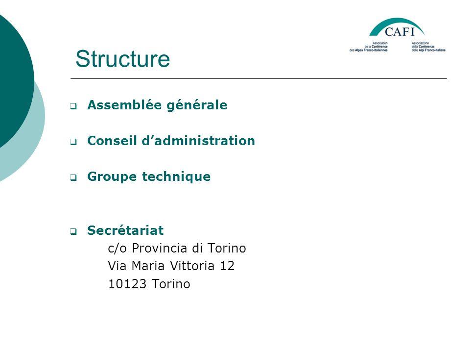 Structure Assemblée générale Conseil dadministration Groupe technique Secrétariat c/o Provincia di Torino Via Maria Vittoria 12 10123 Torino