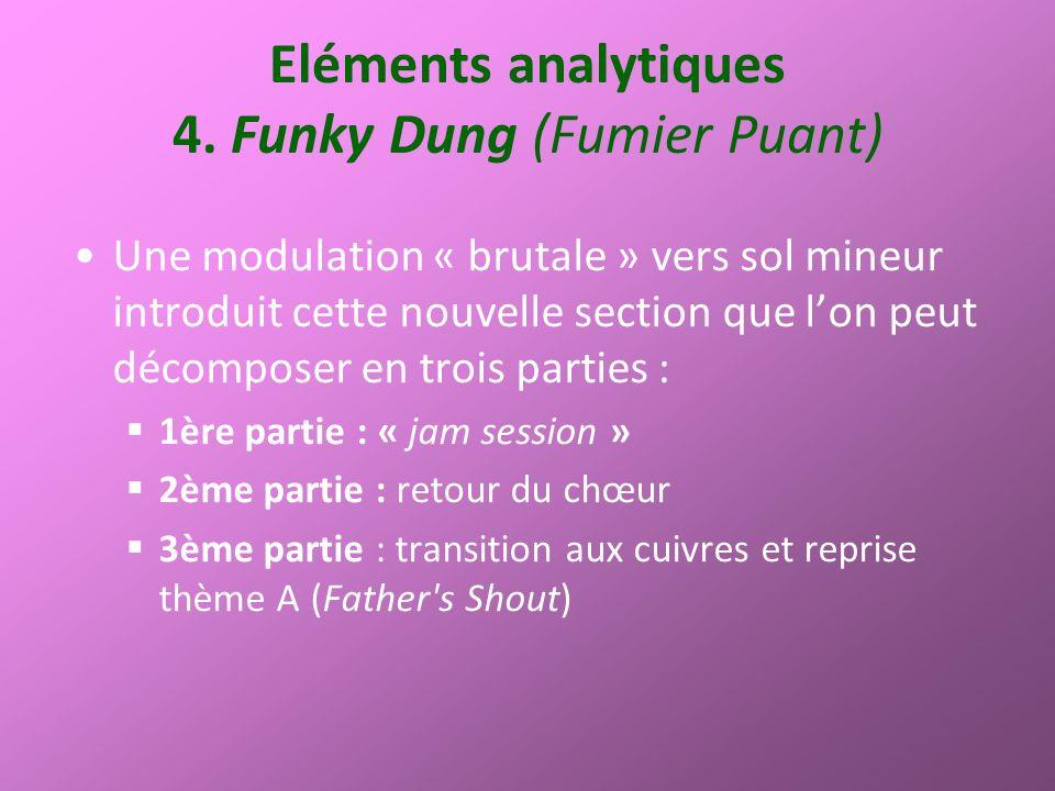 Eléments analytiques 4. Funky Dung (Fumier Puant) Une modulation « brutale » vers sol mineur introduit cette nouvelle section que lon peut décomposer