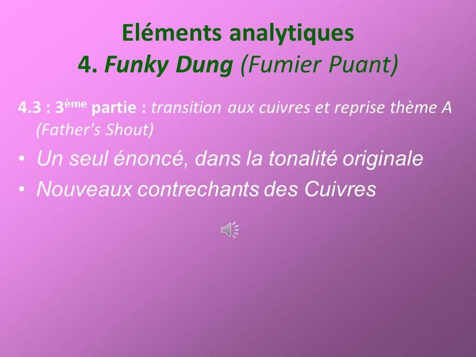 Eléments analytiques 4. Funky Dung (Fumier Puant) 4.3 : 3 ème partie : transition aux cuivres et reprise thème A (Father's Shout) Un seul énoncé, dans