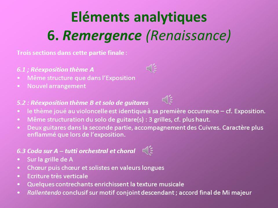 Eléments analytiques 6. Remergence (Renaissance) Trois sections dans cette partie finale : 6.1 ; Réexposition thème A Même structure que dans lExposit