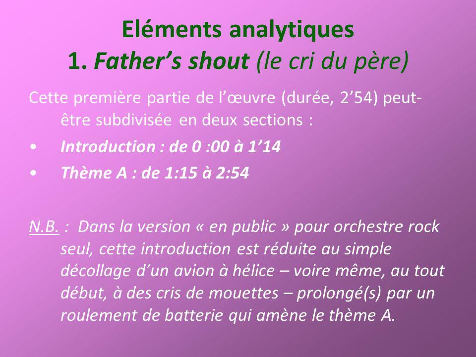Eléments analytiques 1. Fathers shout (le cri du père) Cette première partie de lœuvre (durée, 254) peut- être subdivisée en deux sections : Introduct