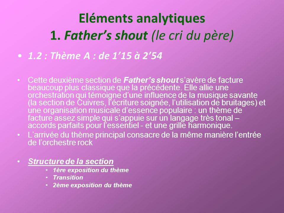 Eléments analytiques 1. Fathers shout (le cri du père) 1.2 : Thème A : de 115 à 254 Cette deuxième section de Fathers shout savère de facture beaucoup