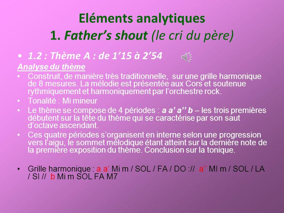 Eléments analytiques 1. Fathers shout (le cri du père) 1.2 : Thème A : de 115 à 254 Analyse du thème Construit, de manière très traditionnelle, sur un