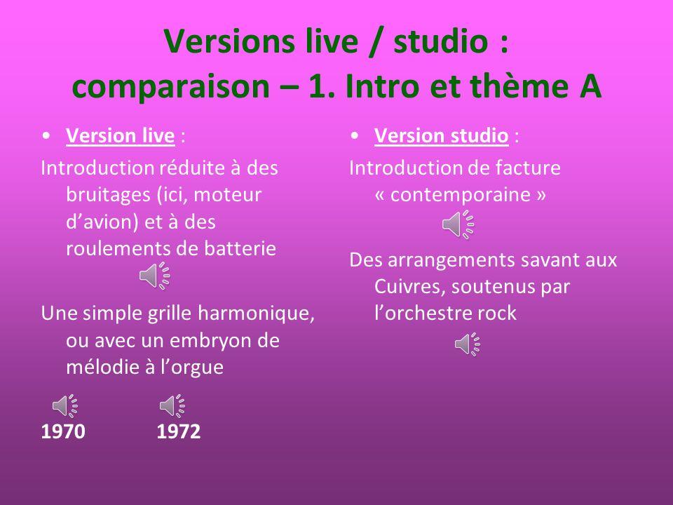 Versions live / studio : comparaison – 2.