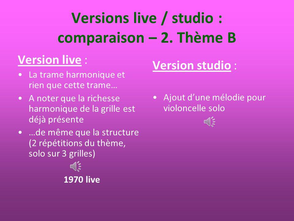 Versions live / studio : comparaison – 3.