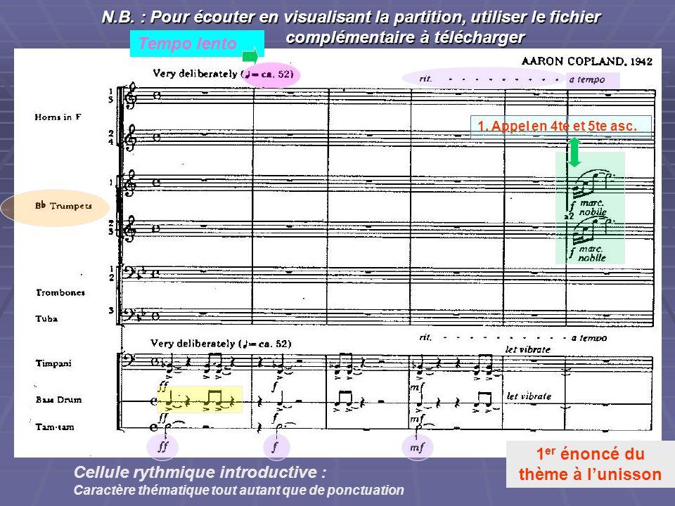 N.B. : Pour écouter en visualisant la partition, utiliser le fichier complémentaire à télécharger 1 er énoncé du thème à lunisson Tempo lento Cellule